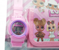 Set Ceas pentru fetite cu portofel, tip LOL Surprise, model 2