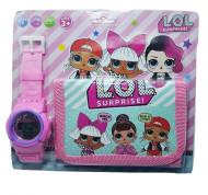 Set Ceas pentru fetite cu portofel, tip LOL Surprise