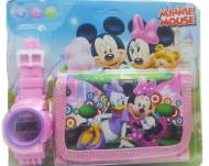Set Ceas pentru fetite cu portofel, tip Minnie Mouse, model 2