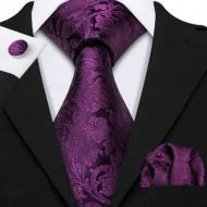 Set cravata + batista + butoni - matase naturala 100%, tesatura Jaquard - model 21