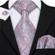 Set cravata + batista + butoni - matase naturala 100%, tesatura Jaquard - model 26