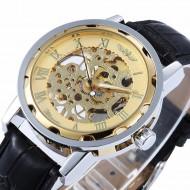 Ceas barbatesc mecanic, Winner brand - Silver & Golden + cutie cadou