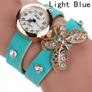 Ceas dama curea lunga Crystals & butterfly-blue