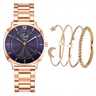 Ceas dama elegant + 4 bratari, albastru / purple, set cadou, model 3