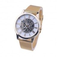 Ceas dama tip skeleton -  White & Gold