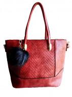 Geanta / poseta de dama, stil modern, rosu burgund, cu ornament