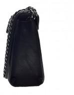 Geanta / poseta eleganta de dama, Sara Moda, 20 x 16 cm, neagra cu ornament si curea lant negru