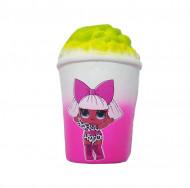 Jucarie Squishy, model pahar cu popcorn, design fetita