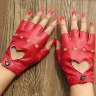 Manusi chic, cu perforatii si decupaj inima, half-fingers, piele ecologica, rosii