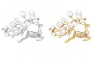 Set brose elegante cu perlute si cristale, model cerb - auriu si argintiu