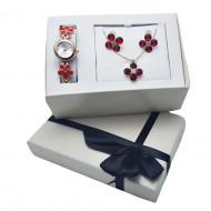 Set cadou de Dama, Janine, cu ceas, cercei si lantisor cu pandantiv