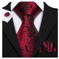 Set cravata + batista + butoni - matase naturala 100% - model 123