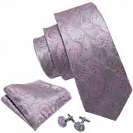 cravata matase naturala 100% cu batista si butoni la set