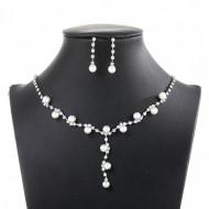 Set elegant (colier si cercei) cu cristale si perlute