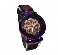 Ceas dama bratara magnetica, cu cristale, floare stilizata, mov / purple