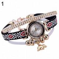 Ceas dama cu cristale si pandant elefant (simbolul norocului) - alb
