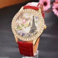 Ceas dama Eiffel Tower & crystals - rosu