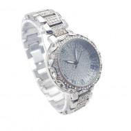 Ceas dama elegant Full crystals - argintiu, cutie eleganta cadou