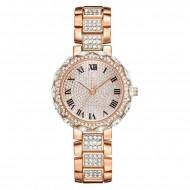 Ceas dama elegant Full crystals - rose golden, cutie eleganta cadou