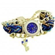 Ceas dama, fashion Key & Crystals - albastru