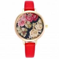 Ceas dama finut, model floral - rosu
