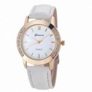 Ceas dama, Geneva, cu cristale - simplitate si eleganta - alb
