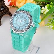 Ceas de dama Geneva cu cristale - Mint Green
