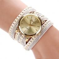 Ceas de dama Geneva, cu cristale si tinte (alb)