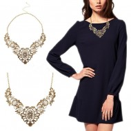 Colier fashion vintage, culoare bronz invechit