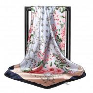 Esarfa eleganta din matase satinata, cu model floral, pe fundal gri