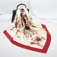 Esarfa eleganta din matase satinata, model floral, multicolora, model 17