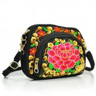 Poseta / geanta de dama, chic, neagra cu broderie florala
