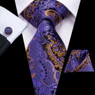 Set cravata + batista + butoni - matase naturala 100%, tesatura Jaquard - model 34