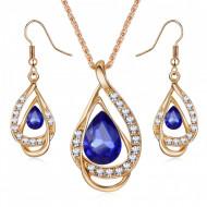 Set elegant (colier si cercei), cu piatra fatetata si cristale, model 4