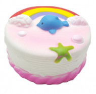 Squishy Jumbo, model tortulet curcubeu cu norisori, delfinas si stea de mare, roz