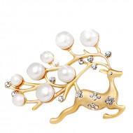 Brosa fashion cu perlute si cristale, model cerb - auriu