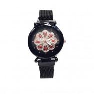 ceas de dama cu cristale bratara magnetica negru