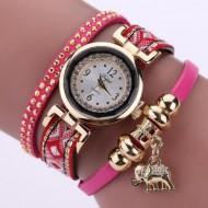 Ceas dama cu cristale si pandant elefant (simbolul norocului) - rose - red