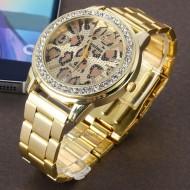 Ceas dama metalic, cu cristale, model leopard