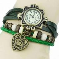 Ceas dama vintage (verde) pandant inima - Cadoulchic.ro