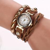 Ceas elegant, curea lunga cu cristale si elemente metalice - culoare bronz