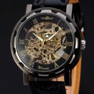 Ceas mecanic Winner pentru barbati - Black & Gold + cutie cadou