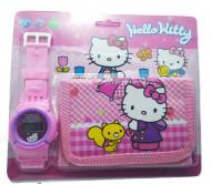 Ceas pentru fetite cu portofel, tip Hello Kitty