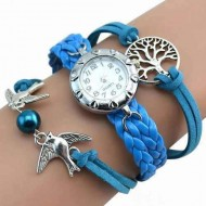 Elegant ceas de dama cu copacul vietii si pasari, blue