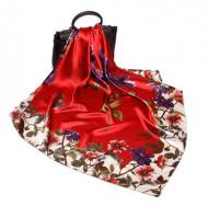 Esarfa eleganta din matase satinata, cu design floral, model 59