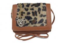 Geanta / poseta de dama, animal print, bej / maro + colier leopard cu cristale