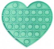 Jucarie Pop It, antistres, forma inima, verde, diametru 13 cm