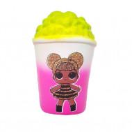 Jucarie Squishy, model pahar cu popcorn, design fetita blonda