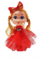 PapusIca simpatica, cu rochita rosie
