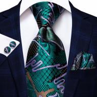 Set cravata + batista + butoni - matase naturala 100%, tesatura Jaquard - model 35